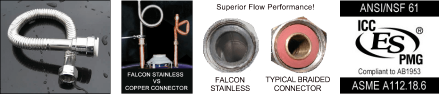 Falcon Stainless Steel Connectors for Tankless